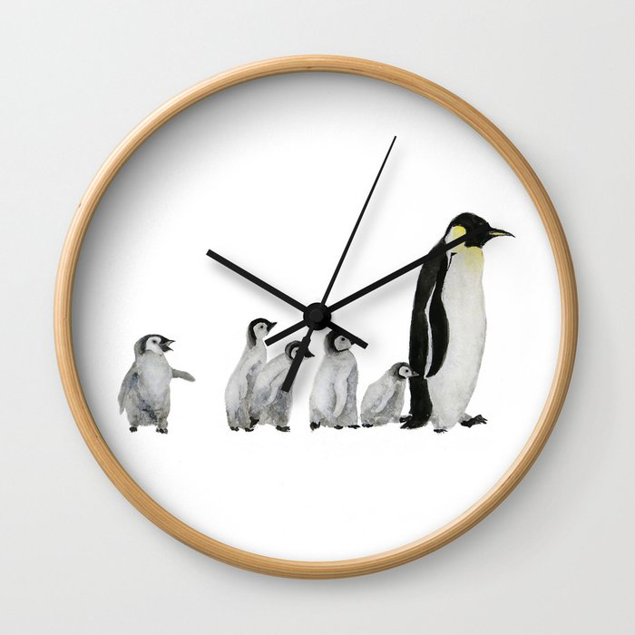 Little penguin says NO I am not going with you Wall Clock