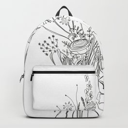 Line Bouquet | Botanical Flowers | Black and White Art Backpack