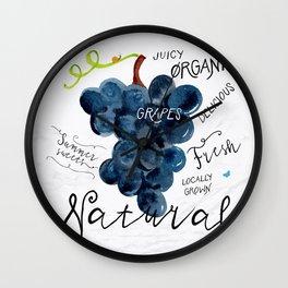 Watercolor grapes Wall Clock