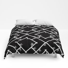 Bamboo Chinoiserie Lattice in Black + White Comforters