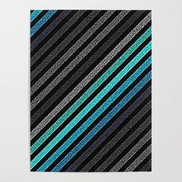stripeS : Slate Gray Teal Blue Pixels Poster