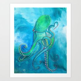 Blue Green Octopus Art Print