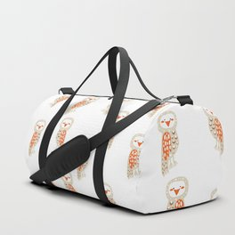 Cute hand painted white orange ivory watercolor owls Duffle Bag