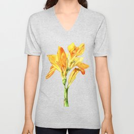 Golden Canna Yellow Flower Watercolor Painting Unisex V-Neck