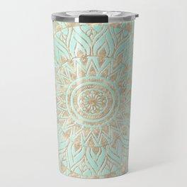 Mint and gold mandala Travel Mug