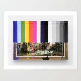 Garage Sale Painting of Peasants with Color Bars Art Print