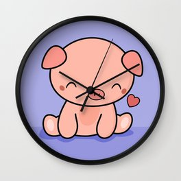 Cute Kawaii Pig With Heart Wall Clock