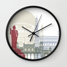 Hyderabab skyline poster Wall Clock