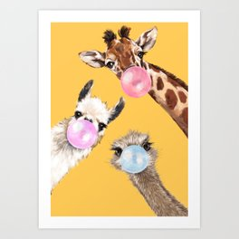 Bubble Gum Gang in Yellow Art Print