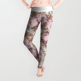 Vintage blush pink burgundy roses floral painting Leggings