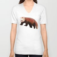 red panda V-neck T-shirts featuring Red Panda by Ben Geiger