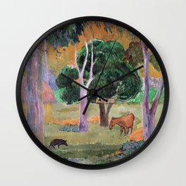 Paul Gauguin - Dominican Landscape Or  Landscape With A Pig And Horse. Wall Clock