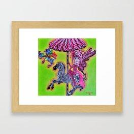Gothic Carousel Faries: Zebra Carousel Framed Art Print