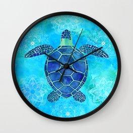 Watercolor Sea Turtles Mandalas Pattern Wall Clock