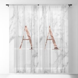 Monogram rose gold marble A Sheer Curtain