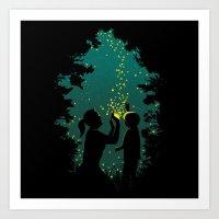 fireflies Art Prints featuring Fireflies by pigboom el crapo