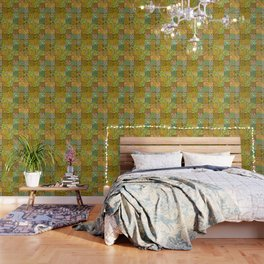 patchwork dreams retro flower quilt dreams of waves Wallpaper