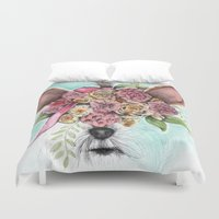 yorkie Duvet Covers featuring Yorkie by Carmen McCormick