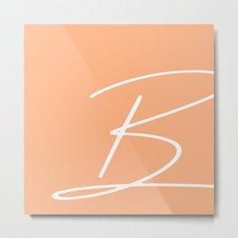 'B' modern letter print in peach Metal Print
