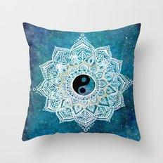 Yin and Yang Galaxy Mandala Throw Pillow