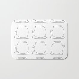Drink Coffee, Have Some Tea, Talk About Love - cups illustration mugs pattern Bath Mat