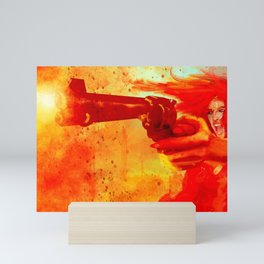 Pretty Angry Girl Screaming Shooting Big Revolver Abstract Creative Ultra HD Mini Art Print