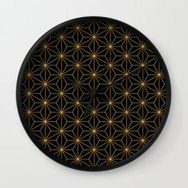 Asanoha -Gold & Black- Wall Clock