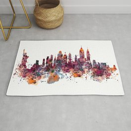New York Skyline Silhouette Rug