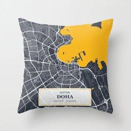 Doha, Qatar City Map with GPS Coordinates Throw Pillow