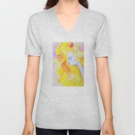 Lady Autumn Watercolor Art Nouveau Gold Unisex V-Neck