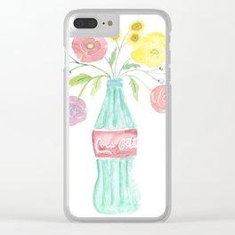 Coke bottle flowers Clear iPhone Case