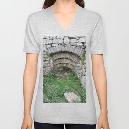 Old Stone Archway In Hillside at Pen y Ghent, Horton in Ribblesdale. Unisex V-Neck