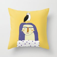 Women and Owl, owl art, people, illustration, fashion, style, Throw Pillow