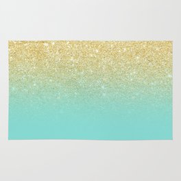 Modern chic gold glitter ombre robbin egg blue color block Rug