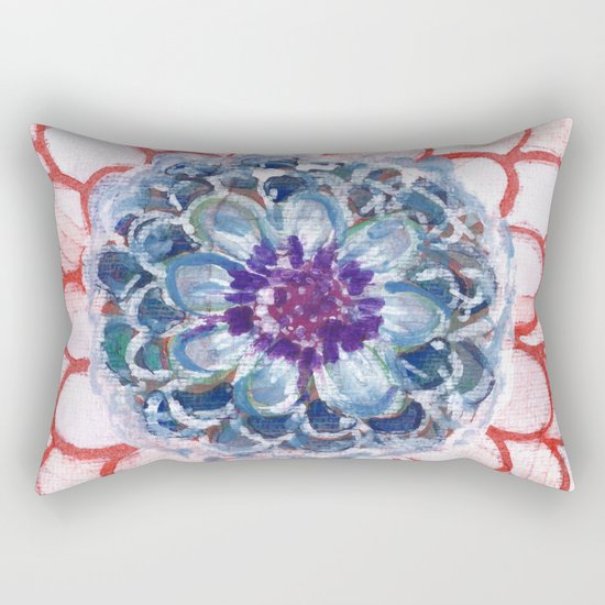 Centered Blue Blossom Rectangular Pillow