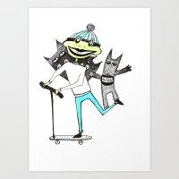 sport Art Prints featuring Sport frog by KRADA ZHAN ART