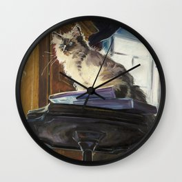 The Magnificent Ascent of the Mighty Bear (the Ragdoll Cat) Wall Clock