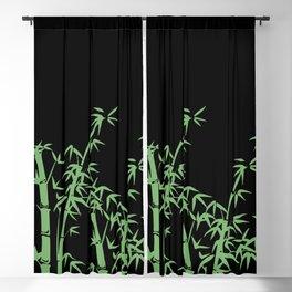 Bamboo design green - black Blackout Curtain