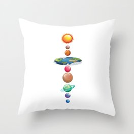 Solar System Flat Earth  I Love My Planet Space Throw Pillow