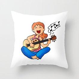 girl playing guitar cartoon Throw Pillow