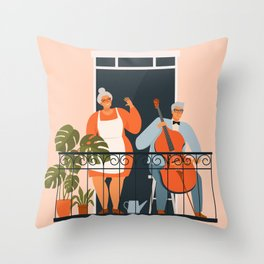 People on balconies. Stay home.  Throw Pillow