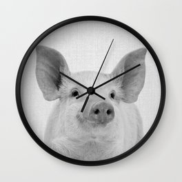 Pig - Black & White Wall Clock