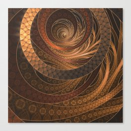 Earthen Brown Circular Fractal on a Woven Wicker Samurai Canvas Print