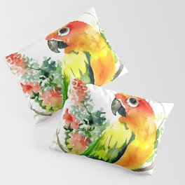 Sun Conure Parakeet, tropical colors parrot art design Pillow Sham