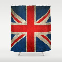 Old and Worn Distressed Vintage Union Jack Flag Shower Curtain