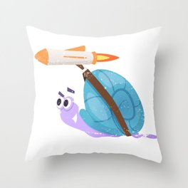 Rocket Snail Throw Pillow
