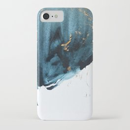 A Minimal Sapphire and Gold Abstract piece in blue white and gold by Alyssa Hamilton Art  iPhone Case
