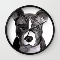 pit bull Wall Clocks featuring Pit Bull Dogs Lovers by Gooberella