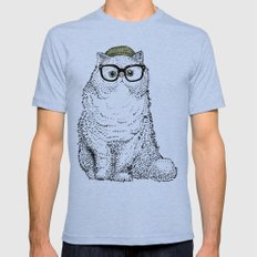 Hipster Persian Cat Tri-Blue LARGE Mens Fitted Tee