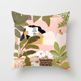 How Many Plants Is Enough Plants? Throw Pillow